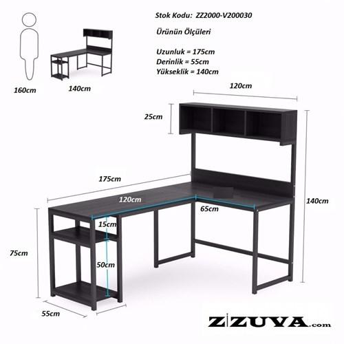 Zizuva Ceviz L Şekilli Raflı Çalışma Masası - ZZ2000-V200029 görseli, Picture 3