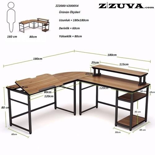 Zizuva Ceviz L Şekilli Çizim ve Çalışma Masası - ZZ2000-V200054 görseli, Picture 3