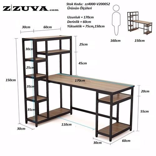 Zizuva Ceviz Raflı Çalışma Masası - ZZ2000-V200052 görseli, Picture 3