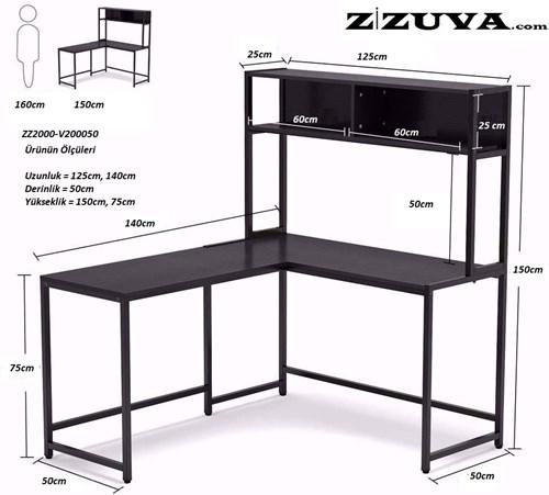 Zizuva Ceviz Kitaplıklı Çalışma Masası - ZZ2000-V200050 görseli, Picture 3