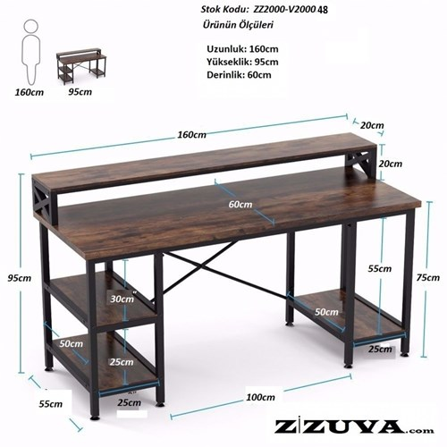 Zizuva Ceviz Modern Raflı Çalışma Masası - ZZ2000-V200048 görseli, Picture 2