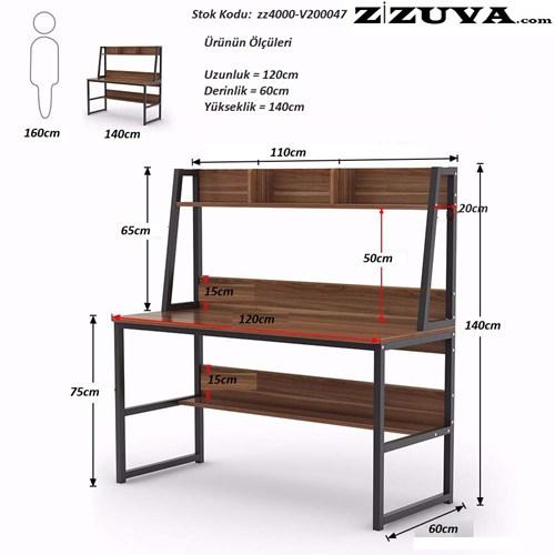 Zizuva Ceviz Modern Çalışma Masası - ZZ2000-V200047 görseli, Picture 2