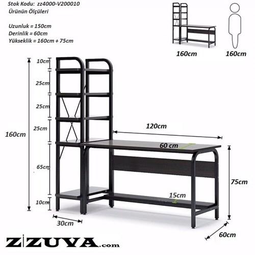 Zizuva Raflı Çalışma Masası - ZZ2000-V200010 görseli, Picture 4