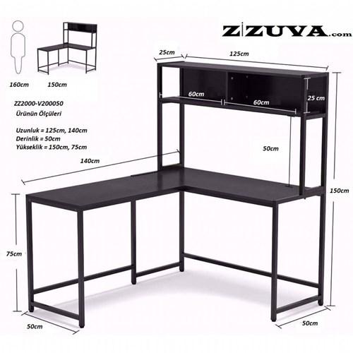 Zizuva Köşe Bilgisayar Çalışma Masası -   ZZ2000V200005 görseli, Picture 4