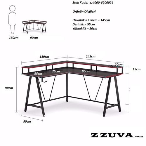 Zizuva Ev Ofis Oyuncu Çalışma Masası - ZZ2000-V200024 görseli, Picture 4