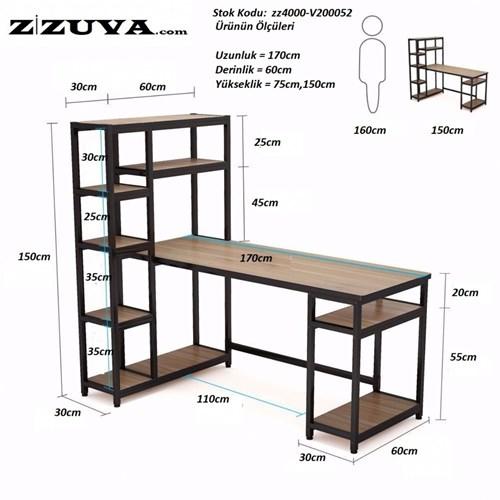 Zizuva Siyah Raflı Çalışma Masası - ZZ2000-V200033 görseli, Picture 3
