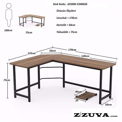 Zizuva Ceviz L Şekilli Çalışma Masası - ZZ2000-V200026 görseli, Picture 2